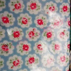 Tela plastificada algodón flores fondo azul. Ref 354