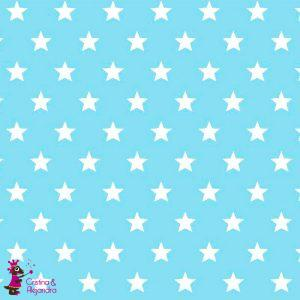 Tela loneta azul estrellas. Ref 010